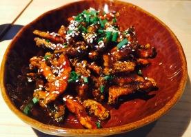 Crispy mushrooms with honey tomato sauce at Chao Bella