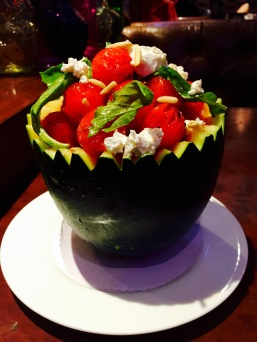 Watermelon and feta cheese salad at Wok in the Clouds