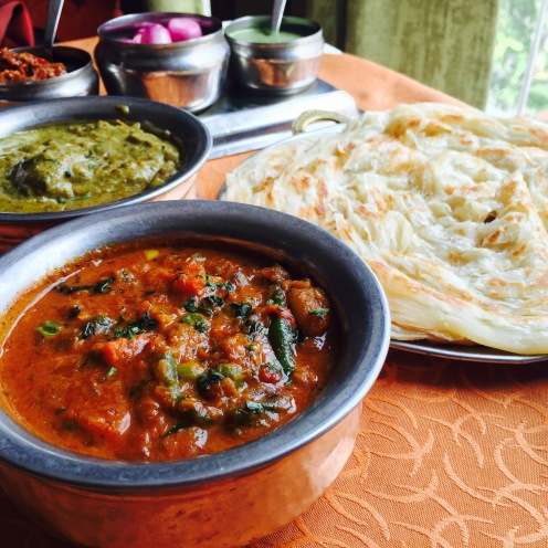 Main Course: Andhra Veg, Chettinad Chicken with malabari Parantha