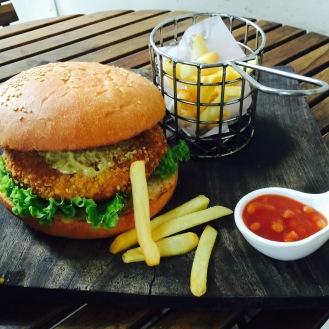 Potato and coriander burger