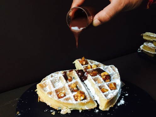 chocolate gianduja with caramelised nuts waffles