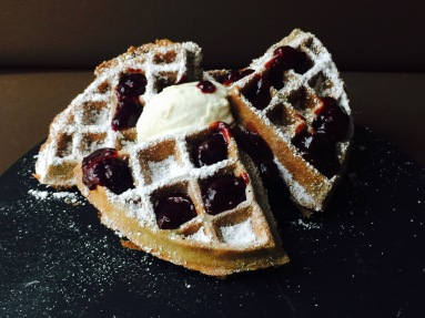 wild berry compote and mascarpone cheese waffles