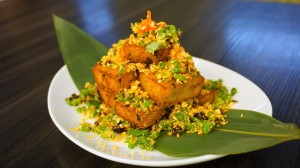 Fried turnip cake with vegetables