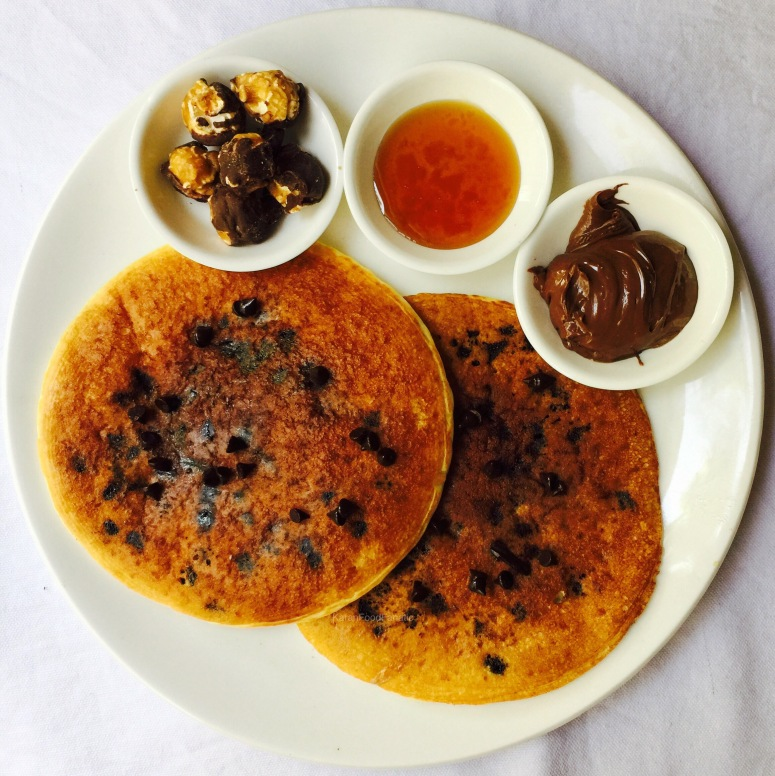 Eggless Chocolate Chip Pancakes
