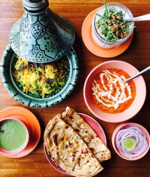 Tehri, Cucumber and walnut raita, Dal Makhni