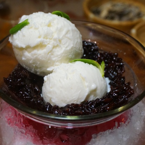 Coconut Ice Cream with Black Rice