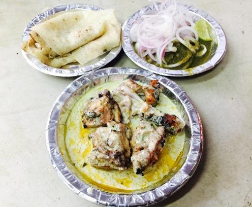 Chicken tikka with roomali roti