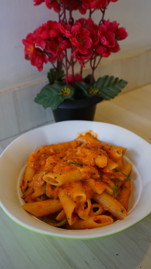 Pink sauce penne pasta