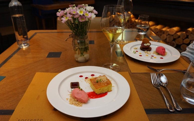 Strawberry sorbet with olive oil cake