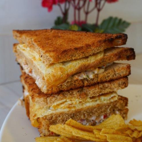 Triple layer chicken club sandwich