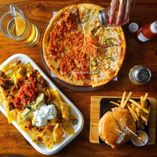 Pizza, Chicken Burger and Grande Nachos