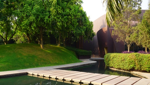 Greenery and waterbodies at The Roseate