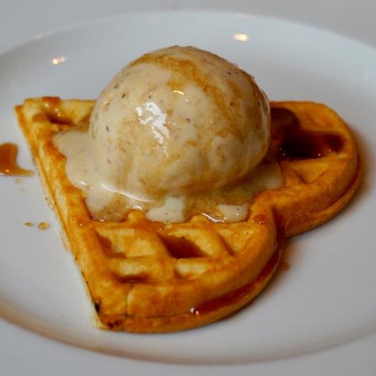 Waffle with Banana Caramel Ice Cream