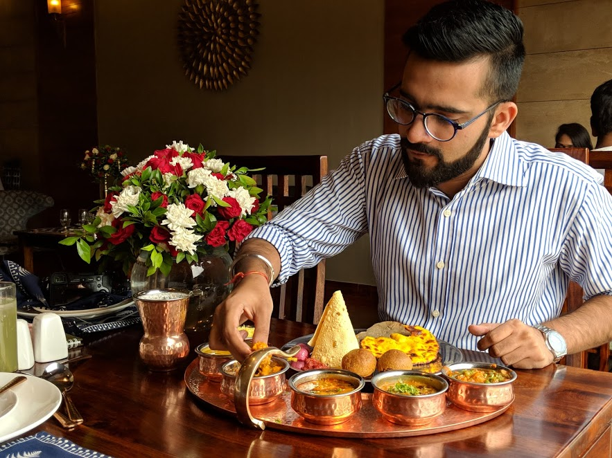 Mr. Food Fanatic enjoying Thali