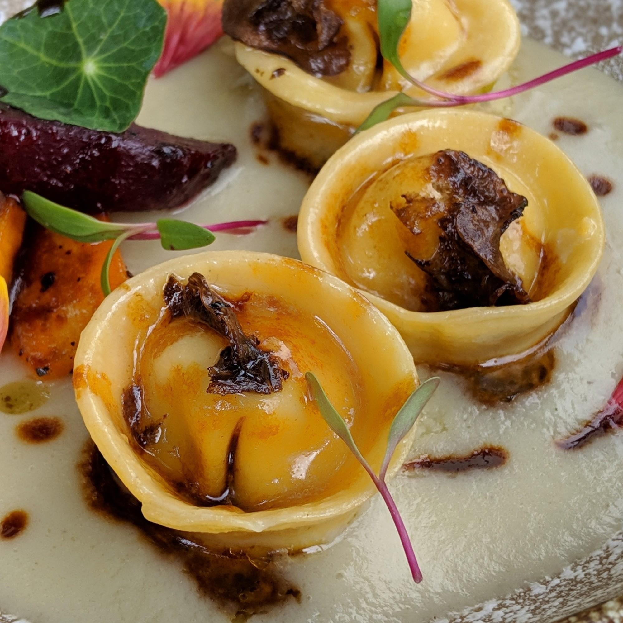 potato, ricotta cheese and rosemary tortelli