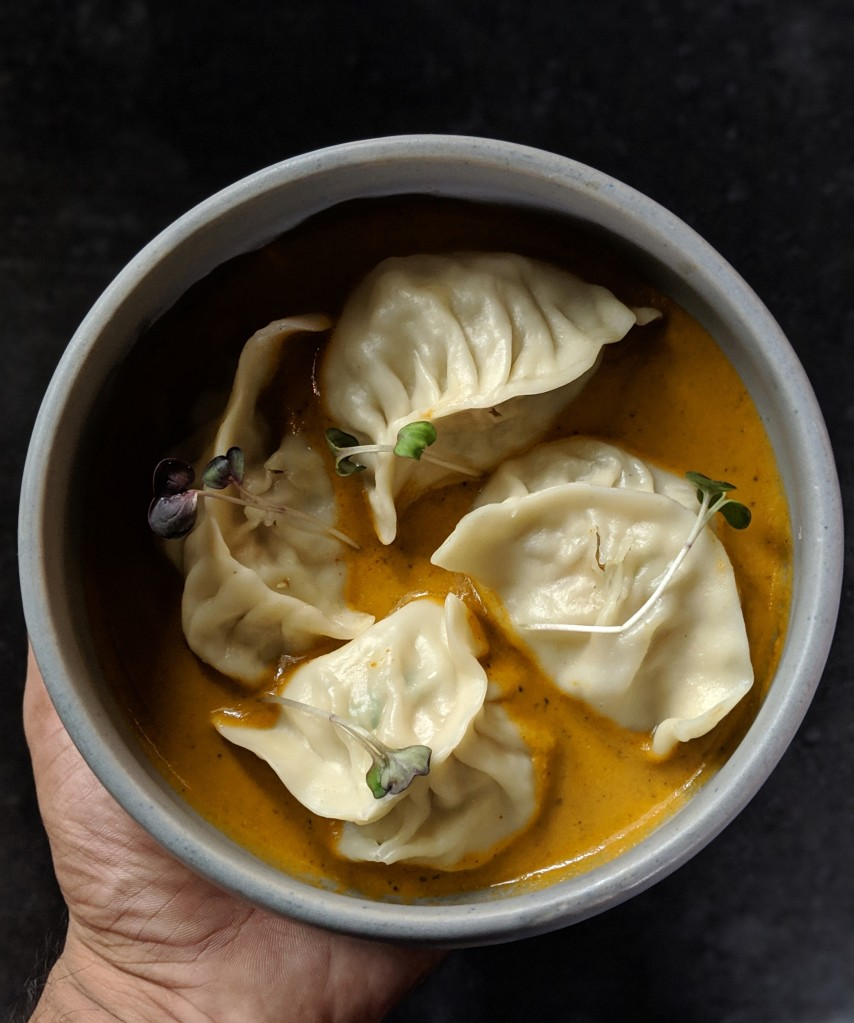 Chicken Momos at a fancy restaurant