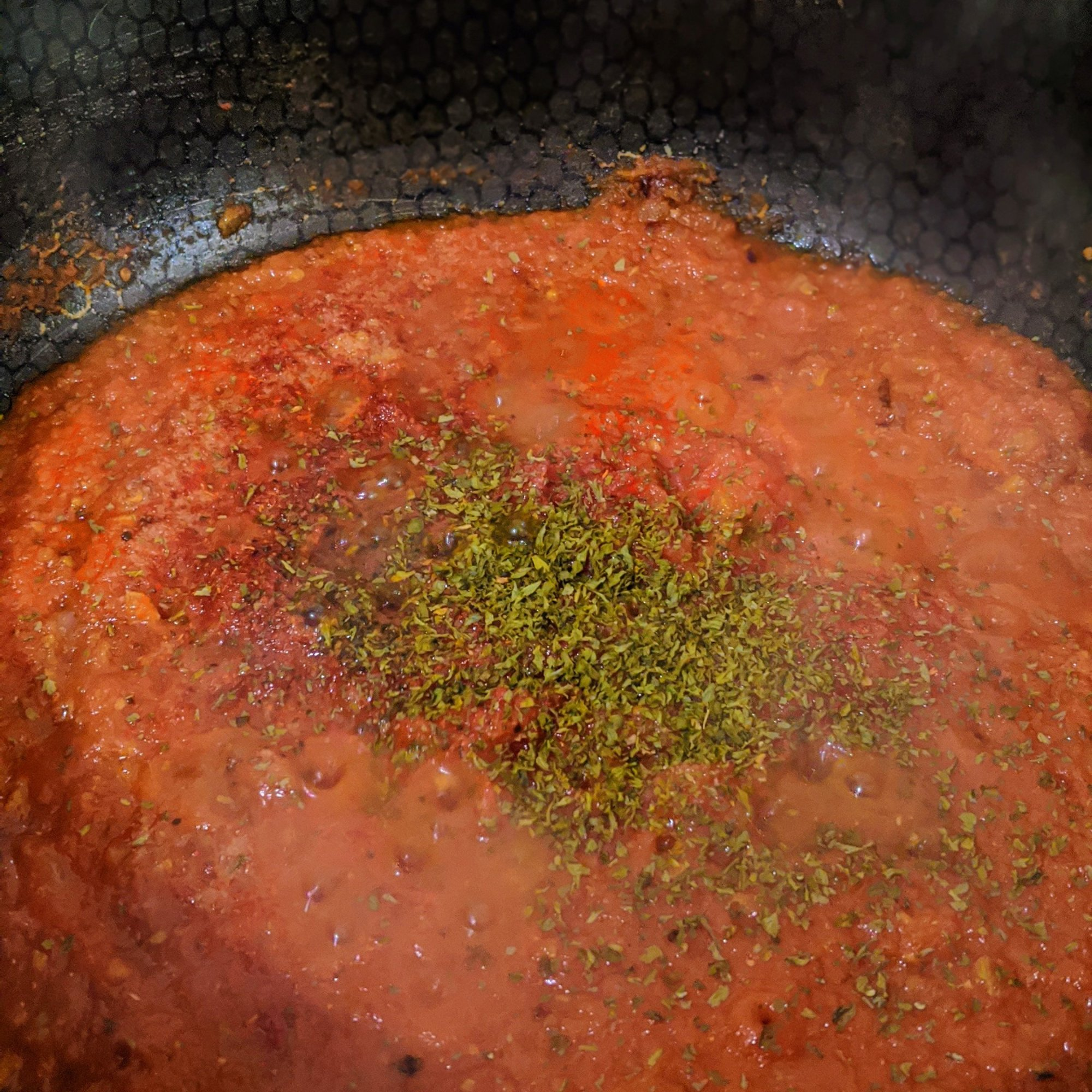 Cook tomatoes and add seasoning