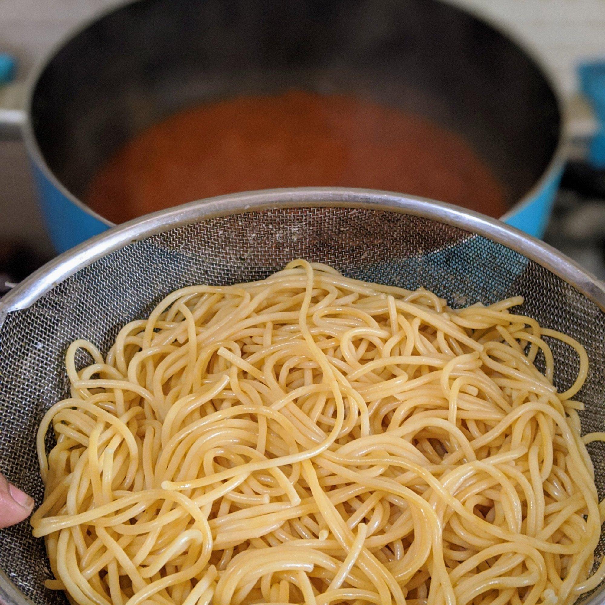 Add in the spaghetti