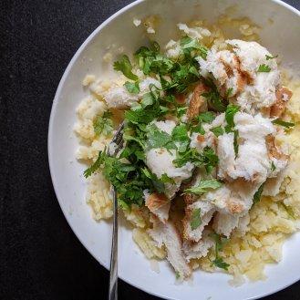 Add bread, salt and chopped coriander